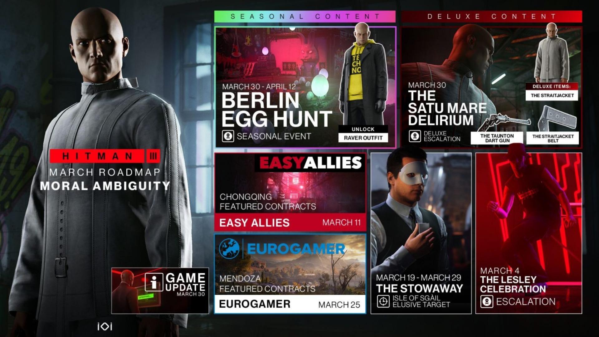 Hitman 3 presenta su hoja de ruta de contenidos para marzo 2021